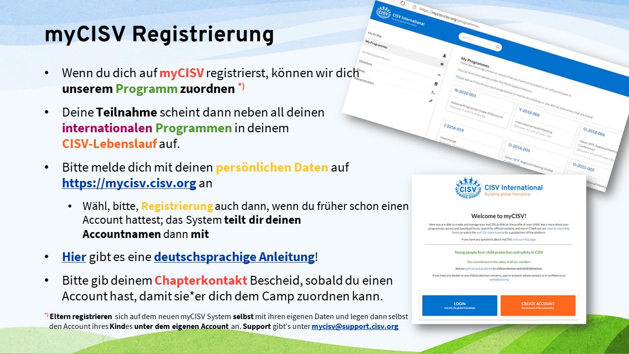 myCISV Registrierung